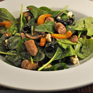 Spinach Salad with Sausages, Peppers and Feta
