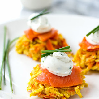Sweet Potato and Carrot Latke-linis with Whipped Goat Cheese and Smoked Salmon.