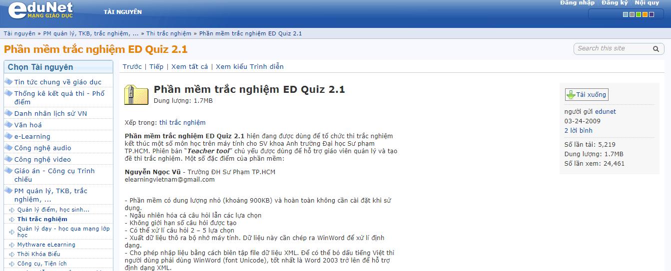 ED Quiz chính là phần mềm thi trắc nghiệm