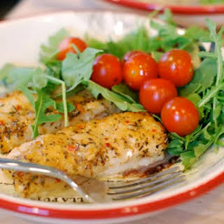 Tuscan Herb Cod with Tomatoes & Arugula.