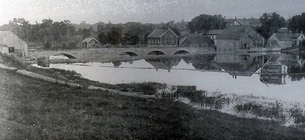 historic photo of the 6 span stone arch bridge in Louisville, NY.