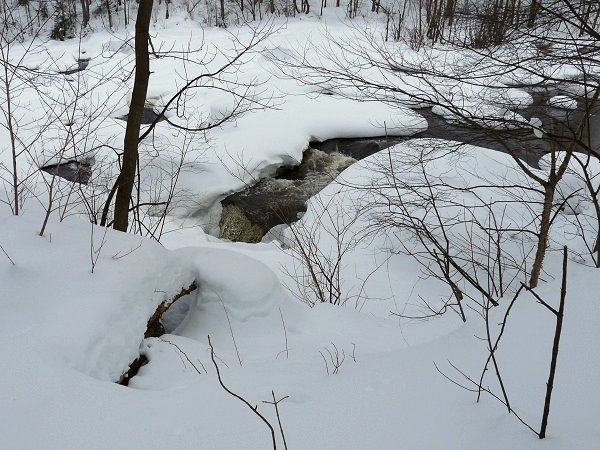 Raquette River waterfall in winter
