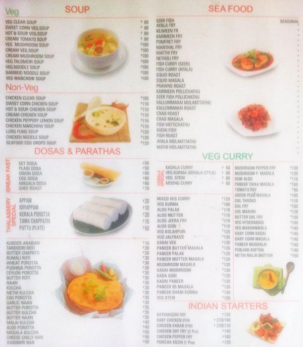 Thalassery Restaurant menu 1