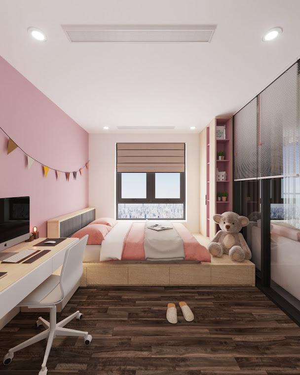 Thiết kế giường hộp với 05 ngăn để đồ, tủ quần áo liền kệ nhiều tầng làm nên thế giới riêng của các bé gái, ngọt ngào, nữ tính với tông màu hồng – trắng.
