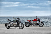 Triumph's new super-cruiser is available as the R version (right) and the more touring-oriented GT (left). Picture: SUPPLIED