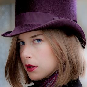 Purple Hat by John Walton - People Portraits of Women ( #steam punk, #heritagefocus, #hat, #purple hat )