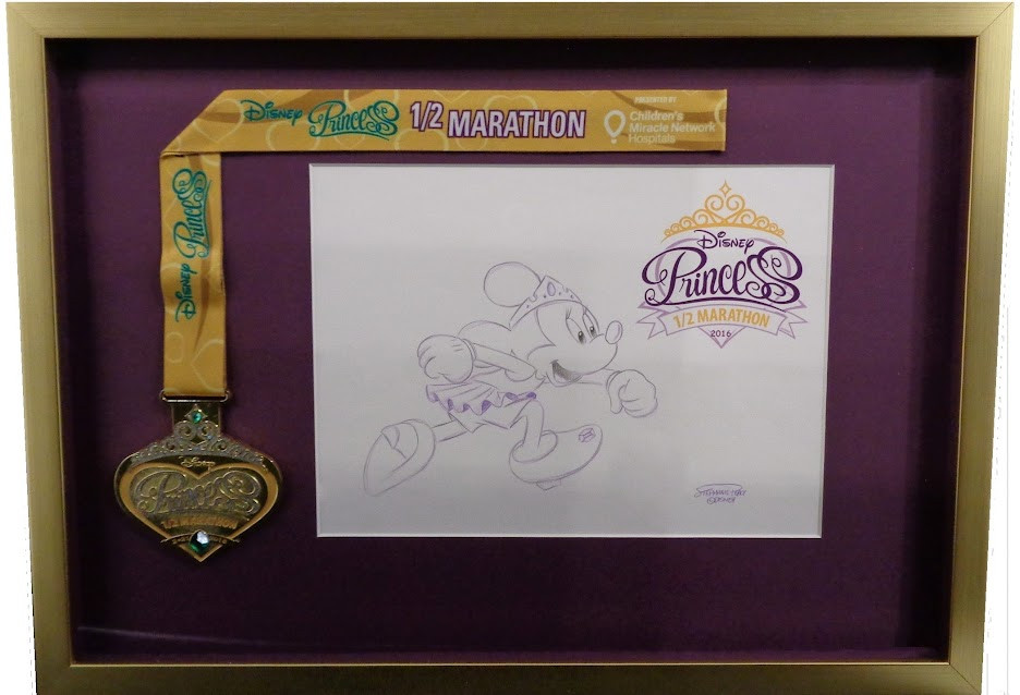Art in shadowbox with ribbon/medal