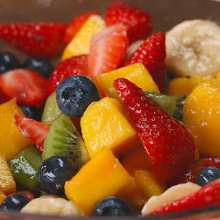 Rainbow Fruit Salad With Honey Lime Dressing.