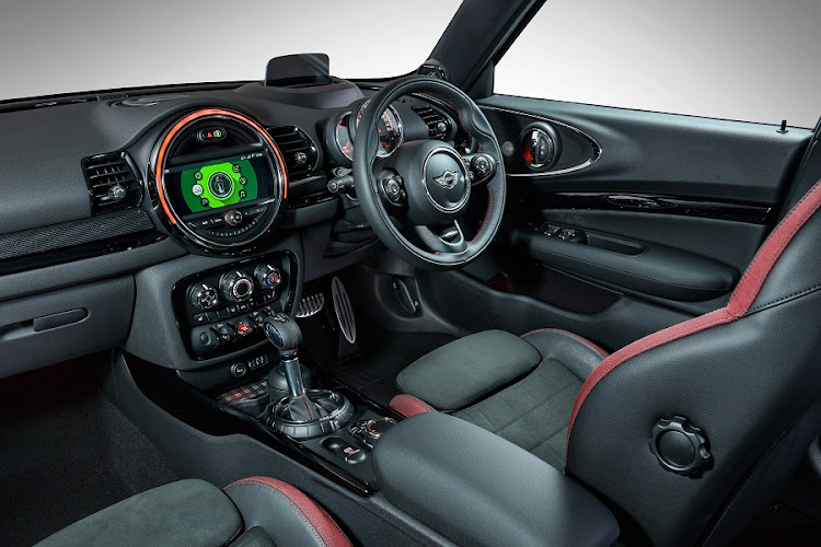 The interiors get the latest JCW treatment and Mini Connected is also a standard feature. Picture: BMW SA/​ROB TILL