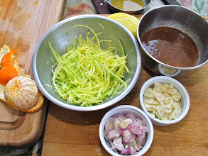 Photo: shrimp paste sauce (upper right corner) and other ingredients for the rice dish