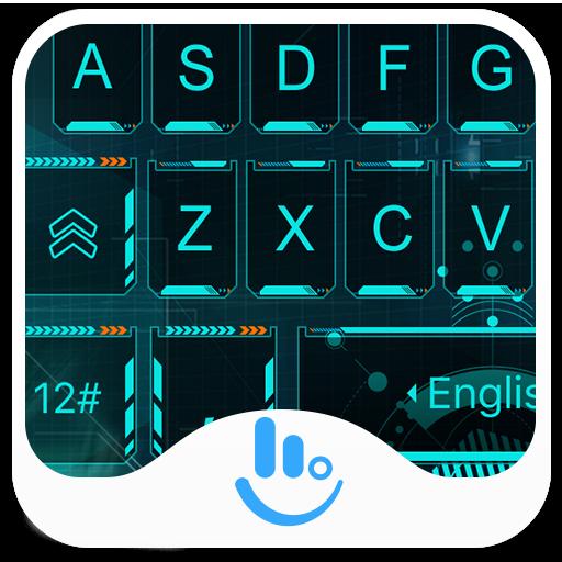 Tech Neon Blue Keyboard Theme