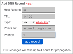 All fields of the first MX record are completed and the add record button is selected.