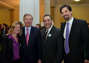 Photo: BBA Council members Deb Manus (Nutter McClennen & Fish), Tony Froio (Robins Kaplan Miller & Ciresi), and Jeff Pyle (Prince Lobel) with BBA President Paul Dacier.