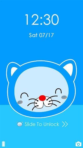 Blue Cat Cartoon launcher Theme 1.1.10 screenshots 2