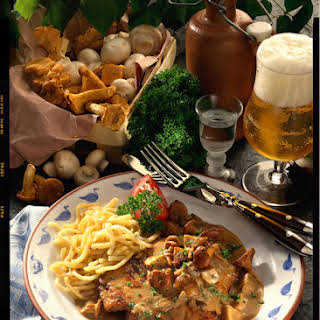 Pork Schnitzel with Mushroom Cream Sauce.