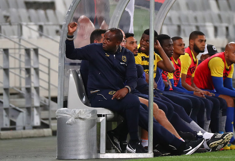 Cape Town City FC head coach Benni McCarthy reacts alongside his bench during the Absa Premiership match against Lamontville Golden Arrows at Cape Town Stadium, Cape Town on 4 April 2018.