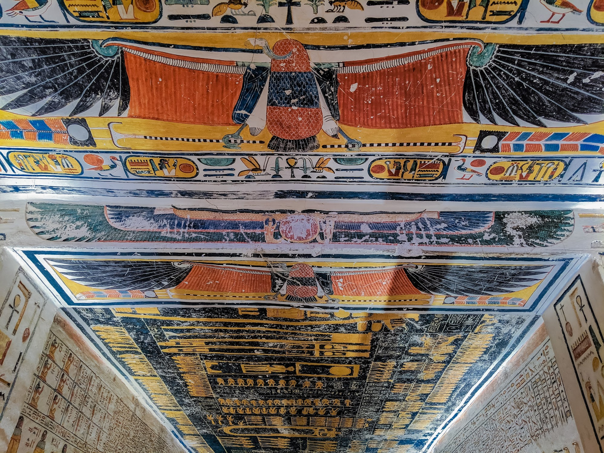 Vividly painted ceiling in one of the burial tombs in Luxor