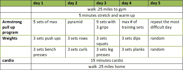 Workout routine table