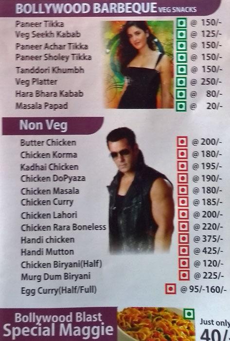 Bollywood Blast menu 1
