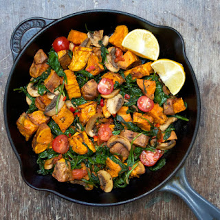 Warm Sweet Potato, Mushroom and Spinach Salad.