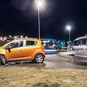 The collision by Stefán Margrétarson - City,  Street & Park  Street Scenes ( car, iceland, accident, police, street, vehicle, hafnarfjörður, single-vehicle, scene, yellow, crash, collision )