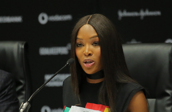 Naomi Campbell at Sandton Convention Centre on Monday morning.