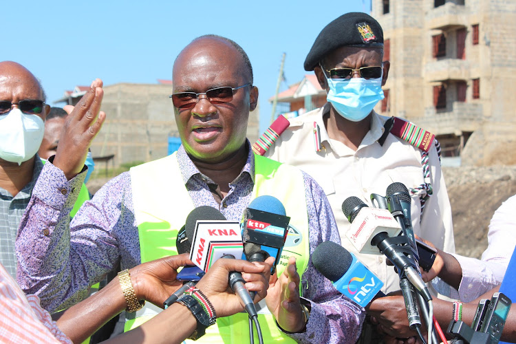 Transport CS James Macharia during an inspection tour of Kenol Marua dual carriageway project.