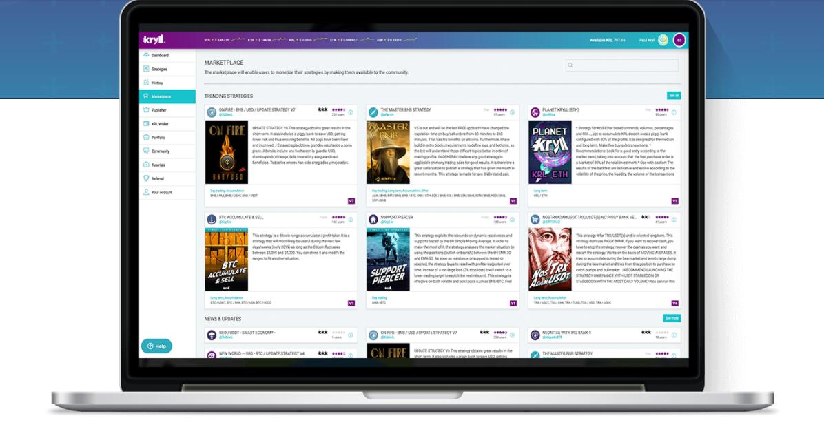 Page de la marketplace Kryll.io où retrouver les différentes stratégies existantes