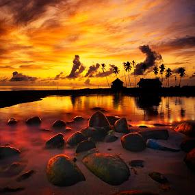 Punggol Beach Singapore by William Cho - Landscapes Waterscapes ( history, seashore, warm tones, sunset, massacre beach, popular, collage, beach, surreal, rocks, singapore, punggol )