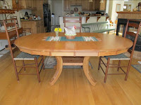 "60"" diameter Montrose Table in Natural Cherry, two 12"" leaves, Octagonal table skirt"