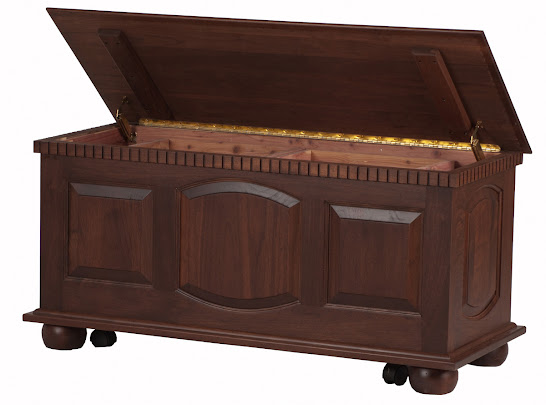 Valencia Chest Shown in Smoky Walnut with Casters