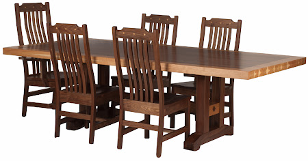 "60"" x 42"" Trestle Table with Custom Timber Edge, Natural Walnut and Hickory and Custom Mission Dining Chairs in Walnut with Diamond Inlay"