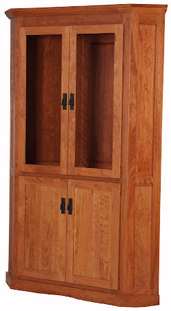 Mission Corner Cabinet in Red Cherry