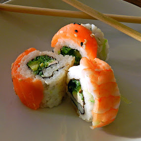 Sushi  by Kerry  Milligan - Food & Drink Plated Food ( food, hungry, nomnom, yummy, foodie, eat, cook, family, cooking, groceries, breakfast, lunch, dinner, dessert, tasty,  )