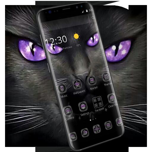 Black Evil Cat Dark Theme