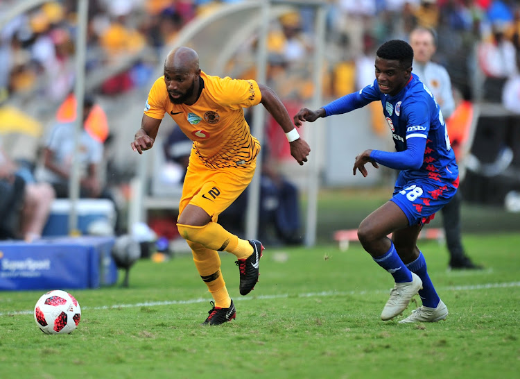 Ramahlwe Mphahlele of Kaizer Chiefs challenged by Teboho Mokoena of Supersport United during the 2018 Telkom Knockout quarterfinal match between Kaizer Chiefs and Supersport United at Moses Mabhida Stadium, Durban on 04 November 2018.