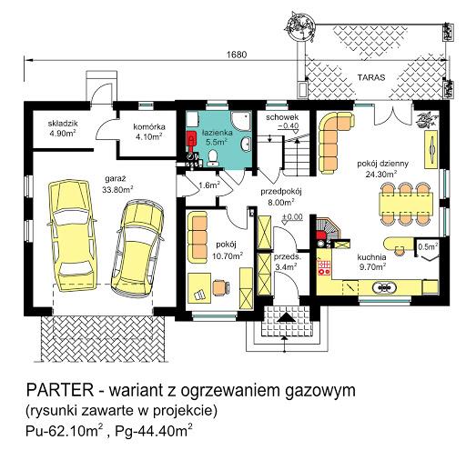BW-03 wariant 5 - Rzut parteru - propozycja adaptacji - ogrzewanie gazowe