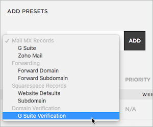 G Suite Verification is selected at the bottom of the drop-down list.