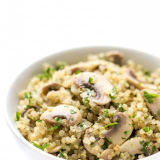 10-Minute Garlic + Herb Mushroom Quinoa.