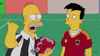 Homer Simpson rechazando el soborno de un jugador de la selección española de fútbol