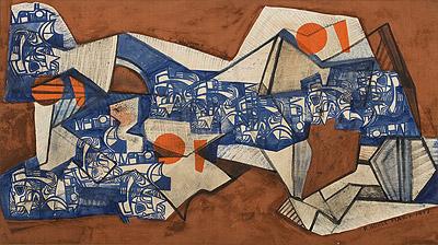 Pintura de autoria de Burle Marx, com formas abstratas e cores vivas como azul e vermelho terra.
