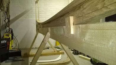 Photo: De kielbalk vast op de stelling
