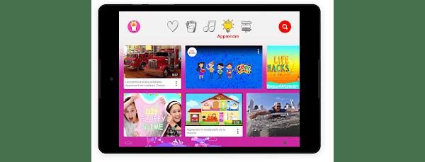 """La section """"Apprendre"""" de YouTube Kids sur une tablette"""