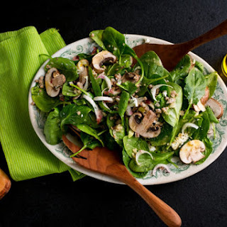 Spinach and Endive Salad With Kasha and Mushrooms