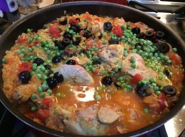 Stir in frozen peas and sliced olives during the last 5 minutes of cooking...