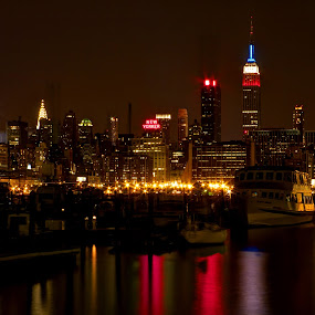 City a Glow by Dave Files - City,  Street & Park  Skylines ( lights, skyline, night, new york, city )