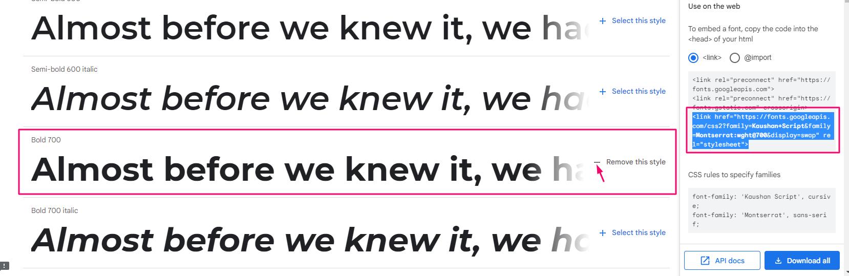 Настройка стилей шрифта Montserrat в Google Fonts