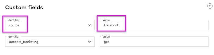 Custom field identifier and value.
