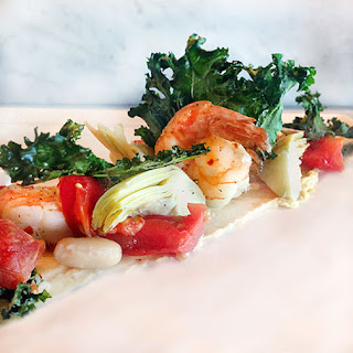 Canyon Ranch Healthy Shrimp Salad with White Beans and Kale.