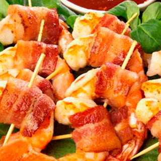 Bacon Wrapped Grilled Shrimp